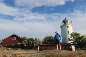 Mads uppe vid Hanö fyr, 65 meter över havet.