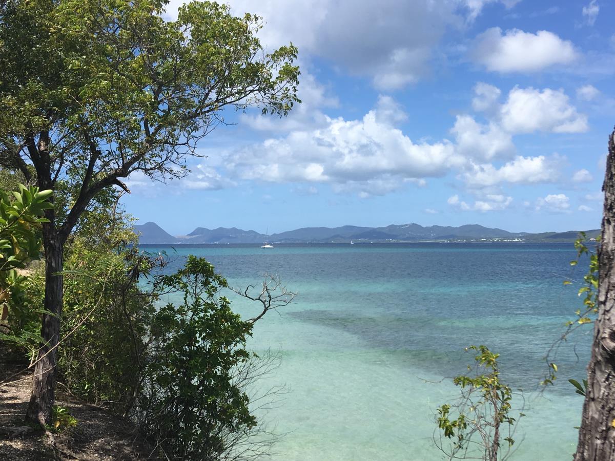 Vacker utsikt på vandring i Saint Anne, Martinique.