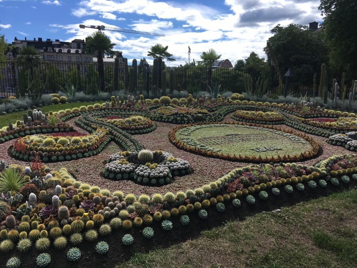 Den traditionella och fantastiska plantering i Norrköpings Stadspark.