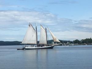 Klassisk vy i Maine med natur och vackra båtar.